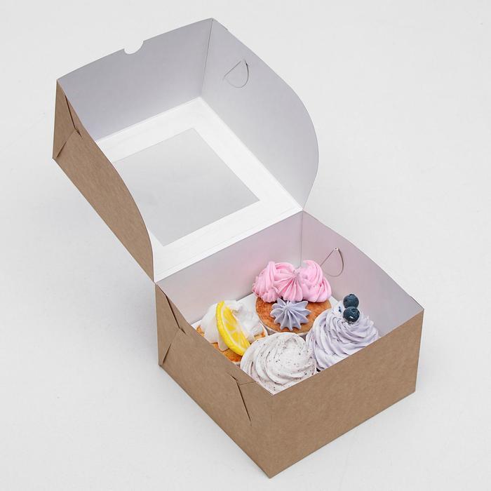 Упаковка для капкейков с окном на 4 шт, крафт 16 х 16 х 10 см - фото 308035419