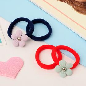"Elastic band for hair ""Marushka flower"" set of 4 PCs red,blue"