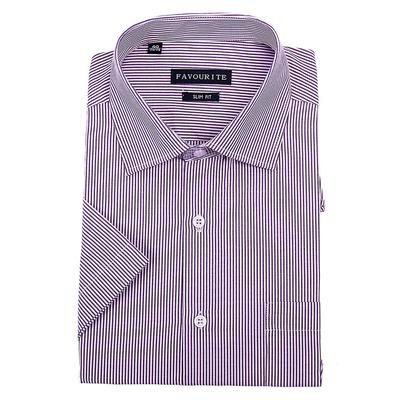 Сорочка приталенная мужская с коротким рукавом R107074s_FAV цвет фиолетовый, р-р 40 (170-176)   3694