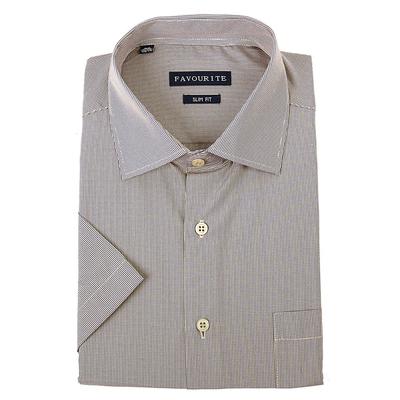 Сорочка приталенная мужская с коротким рукавом R417003s_FAV цвет бежевый, р-р 43 (176-182)