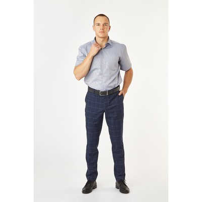 Сорочка приталенная мужская с коротким рукавом R704018s_FAV цвет серый, р-р 44 (176-182)