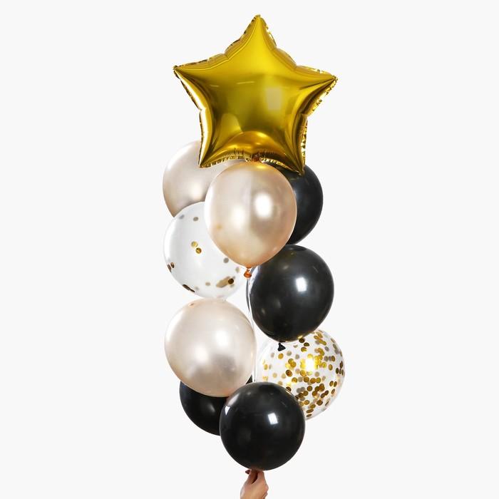 """Набор шаров для украшения праздника """"Яркий"""", латекс, фольга, с конфетти, набор 10 шт."""