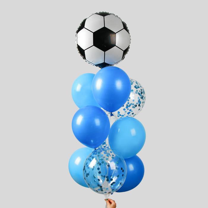 """Фонтан из шаров """"Футбол"""", для мальчика, с конфетти, латекст, фольга, 10 шт. - фото 7429546"""