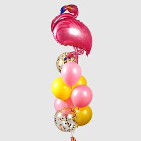 Фонтан из шаров «Фламинго» с конфетти, латекс, фольга,10 шт.