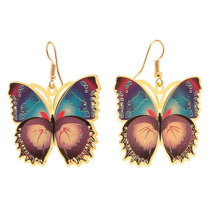 """Серьги """"Бабочка"""" невесомость, цветные"""