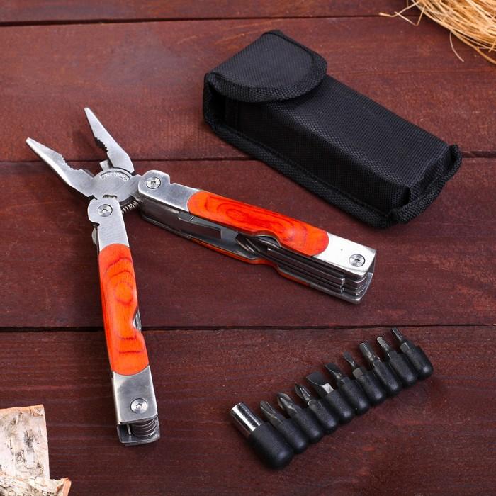 Инструмент многофункциональный 11в1, деревянная вставка на рукояти - фото 727884580