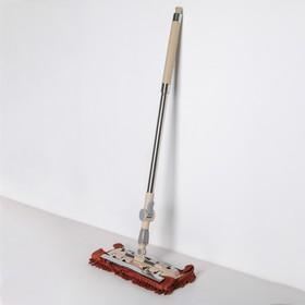 Швабра плоская, телескопическая ручка 94-121 см, насадка микрофибра букли 33×13 см, цвет бежево-коричневый