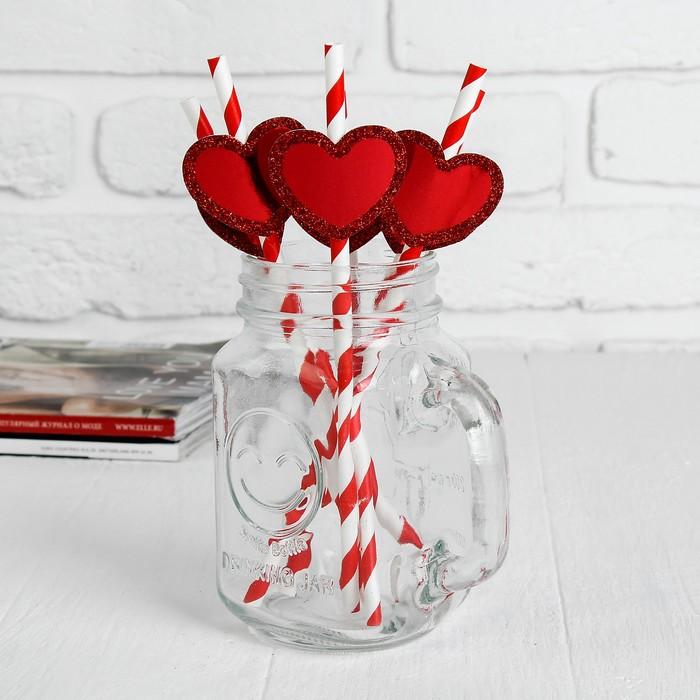 """Трубочки для коктейля """"Спиралька"""" с сердцем, цвет красный (набор 6 шт.)"""