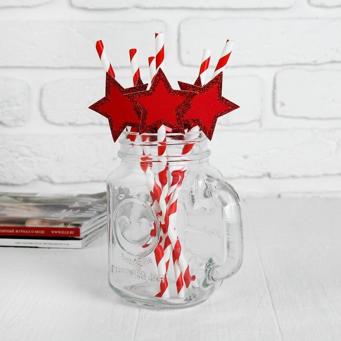 """Трубочки для коктейля """"Спиралька"""" со звездой, цвет красный (набор 6 шт.)"""