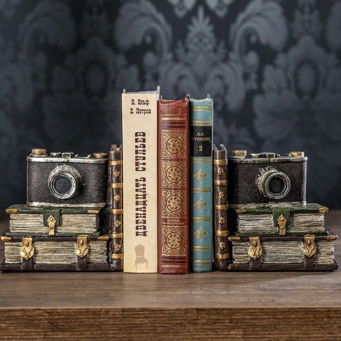"""Держатели для книг """"Фотоаппарат"""" набор 2 штуки 15х15х9,5 см"""