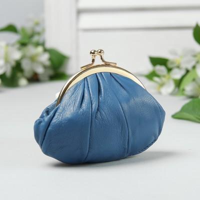 Косметичка-фермуар, натуральная кожа, отдел на фермуаре, цвет синий