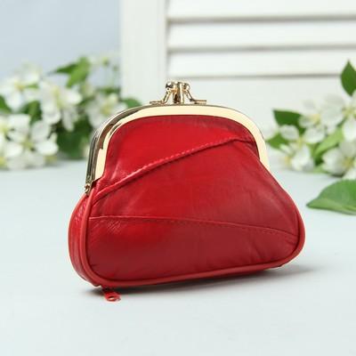 Косметичка-фермуар, натуральная кожа, 2 отдел на фермуаре, наружный карман, цвет бордовый