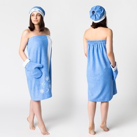 Комплект для сауны с вышив жен Снегурочка (юбка 80х150, вареж, шапка), махра 190г/м хл100%