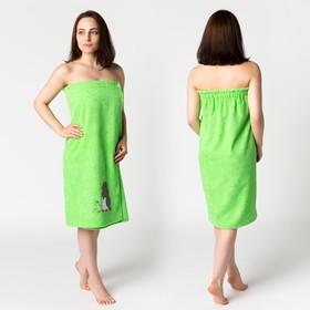 Килт жен КЖ-2019, 80х150+-2 нежная зелень, вышивка Пингвины, махра 300г/м хл100%