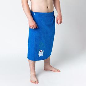 Килт мужской 70х150, цвет синий, вышивка «Снеговик»