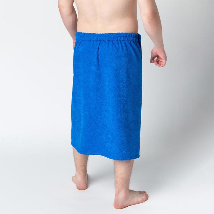 Килт муж КМ-2019, 70х150 синий, вышивка Снеговик, махра 300г/м хл100%