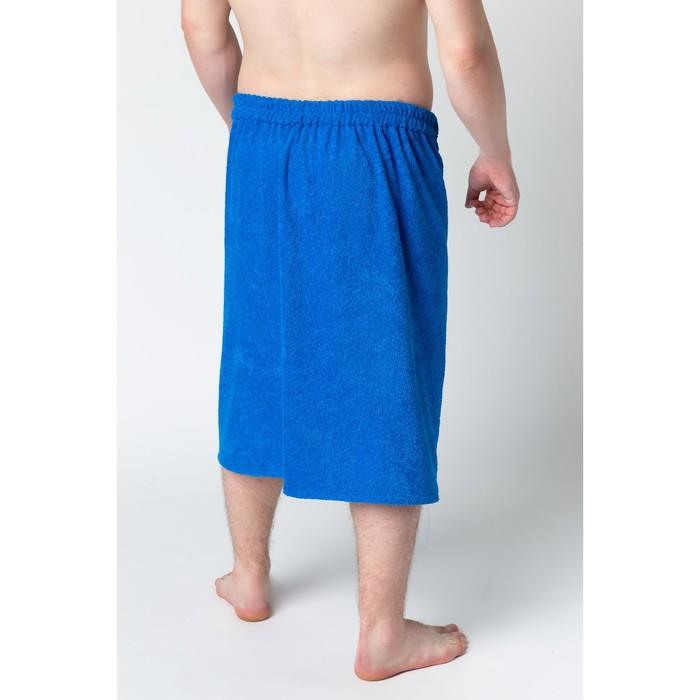 Килт муж КМ-2019, 70х150 синий, вышивка Пингвины, махра 300г/м хл100%