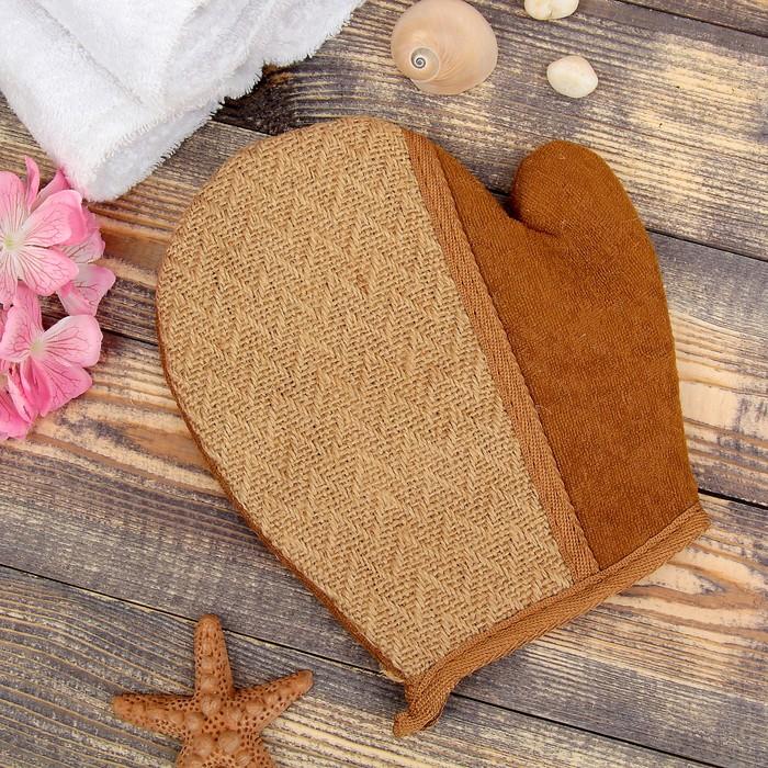 Мочалка-варежка натуральная, лён, 22×19см