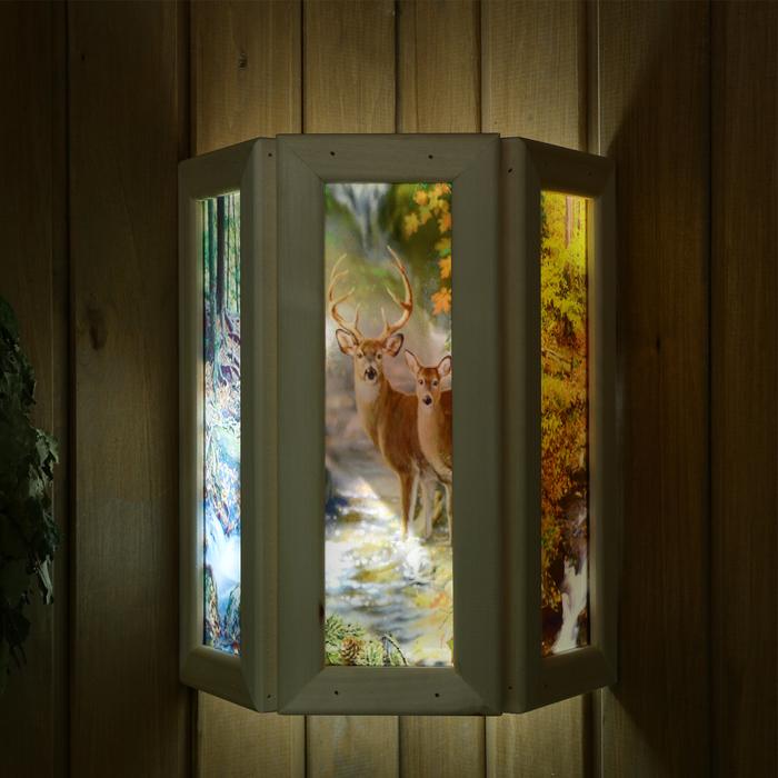 """Абажур деревянный """"Олени"""" со вставками из стекла с УФ печатью, 33х29х12см"""
