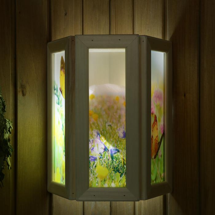 """Абажур деревянный """"Бабочки"""" со вставками из стекла с УФ печатью, 33х29х12см"""