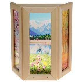 Абажур деревянный 'Природа' со вставками из стекла с УФ печатью, 33х29х12см Ош