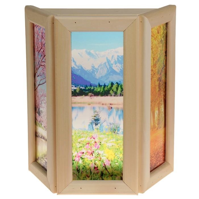 """Абажур деревянный """"Природа"""" со вставками из стекла с УФ печатью, 33х29х12см"""