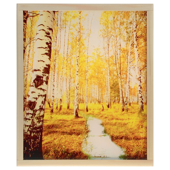 "Абажур деревянный ""Осенний пейзаж"" с УФ печатью, 35х30х5см"
