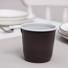 Чашка кофейная 200 мл цвет бело-коричневый Ош