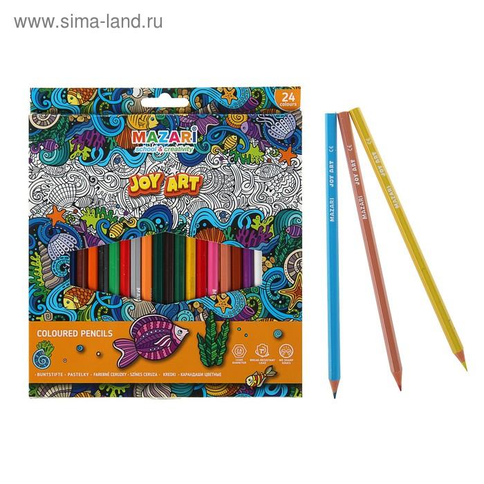 Карандаши 24 цвета MAZARi Joy Art, грифель 2.6мм, пластиковые, шестигранные, европодвес