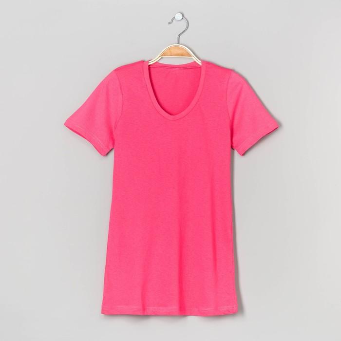 Футболка женская с V- образным вырезом однотонная, цвет розовый, размер S