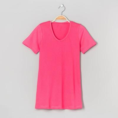 Футболка женская однотонная 2369 цвет розовый, р-р 2XL