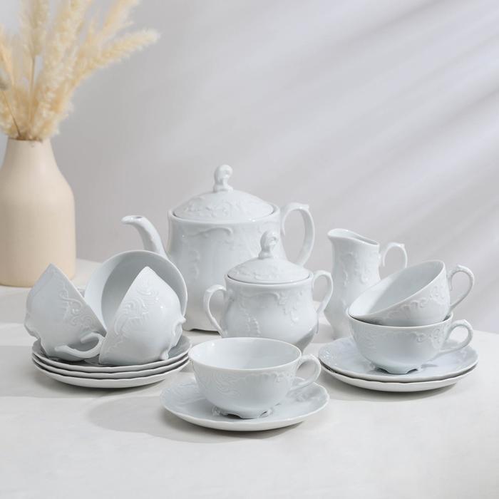Сервиз чайный на 6 персон, 15 предметов: 6 чашек 240 мл, 6 блюдец 15,7 см