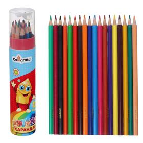 18 color pencils in tube with sharpener Calligrata