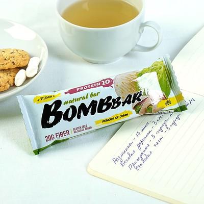 BOMBBAR протеиновый батончик 60 гр (фисташковый пломбир)