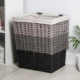 Корзина универсальная плетёная с крышкой Доляна, 44×35×53 см, цвет серо-чёрный