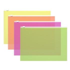 Папка-конверт на гибкой молнии Zip B5 (289 х 214 мм) Erich Krause Fizzy Neon, тиснение - orange peel, микс