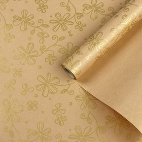 """Paper, wrapping, Kraft """"Golden flowers"""", 0,5 x 10 m"""