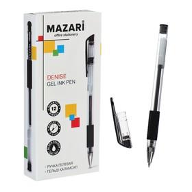 Ручка гелевая DENISE, пулевидный пишущий узел 0.5 мм, чернила чёрные, с резиновым упором