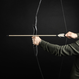 """Сувенирное деревянное оружие """"Лук традиционный"""", 170 см, взрослый, черный, массив ясеня"""