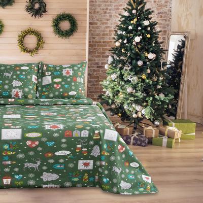 Постельное бельё 1,5 сп.Сэми рис. Рождество зеленый 147х210, 150х210, 70х70 2 шт. бязь 120 г/м, хл 100%