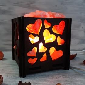 Светильник 'Сердца' 2-3кг красная соль Пакистан 15x16x20см Ош