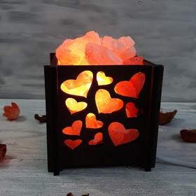 Светильник 'Сердца мини' 1,4кг красная соль Пакистан 15x16x20см Ош