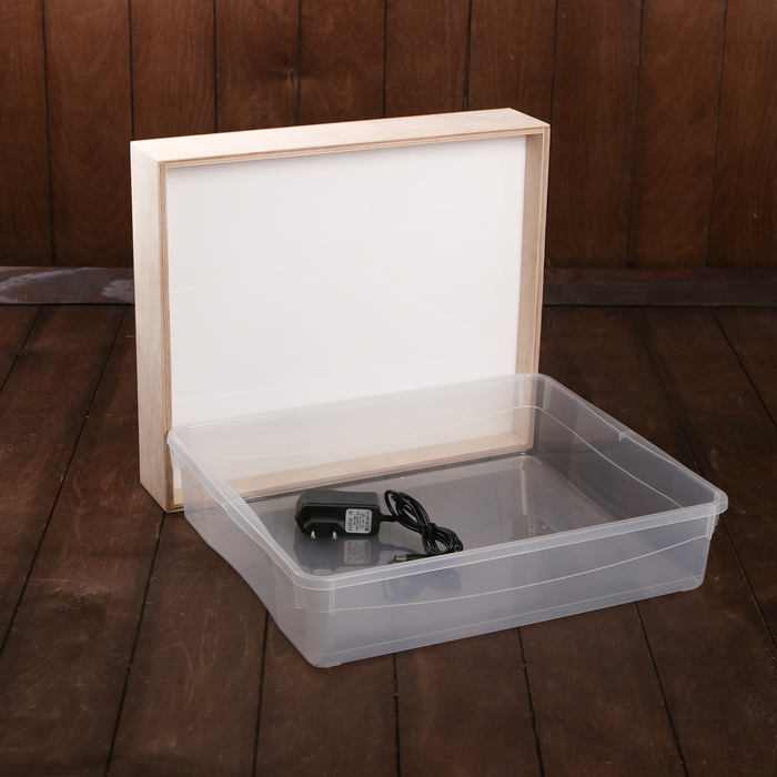 Планшет для Эбру с поддоном А4, 33х39 см фанера с белой подсветкой