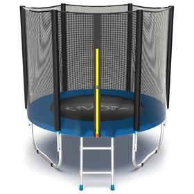Батут EVO JUMP External 6 ft, d=183 см, с внешней сеткой и лестницей, синий