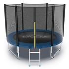 Батут с внешней сеткой и лестницей Evo Jump External, диаметр 8ft (244 см), цвет синий