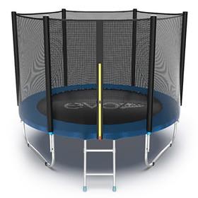 Батут EVO JUMP External 8 ft, d=244 см, с внешней сеткой и лестницей, синий