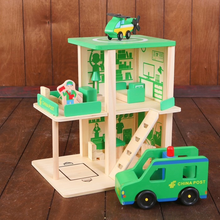 """Игровой набор """"Почтовая станция"""", машина: 16 × 10 см, вертолёт: 10 × 15 см"""