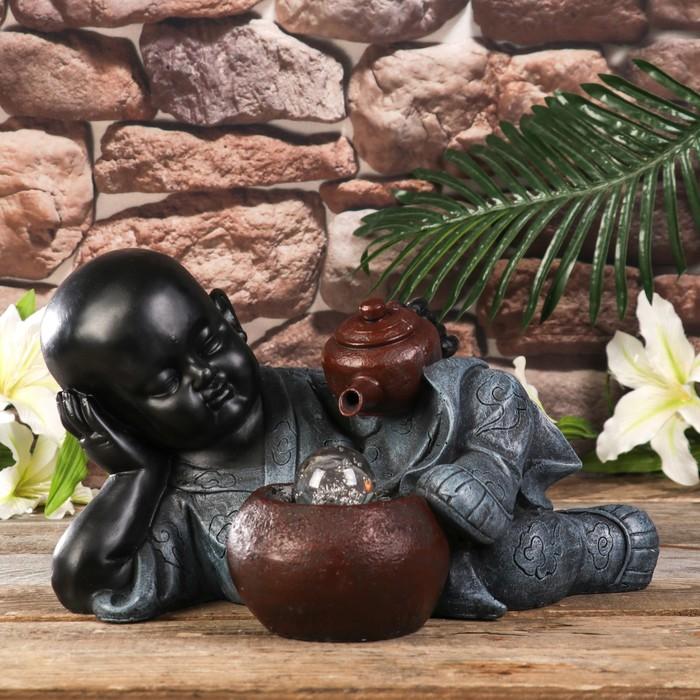 """Фонтан настольный полистоун свет """"Маленький Будда и чайная церемония"""" 21х27х26 см"""