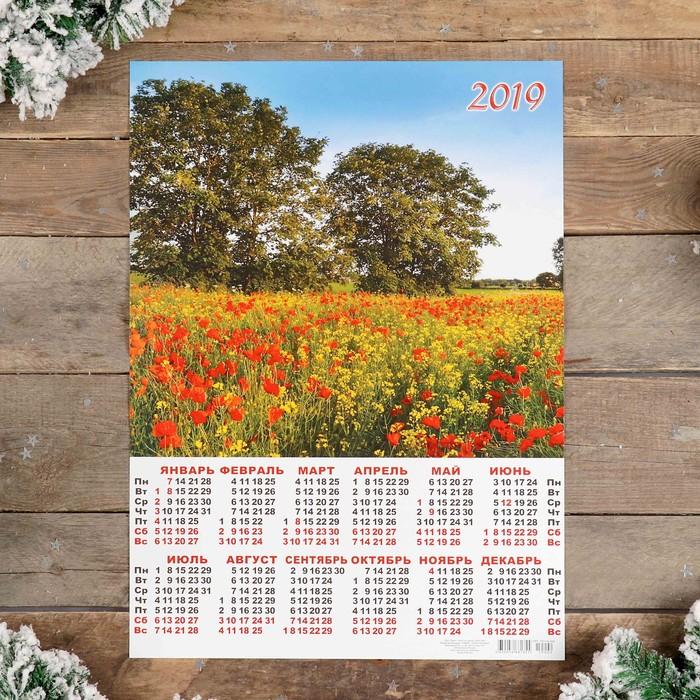 """Календарь листовой А2 """"Природа - 2019 - 3"""" 42х59см"""