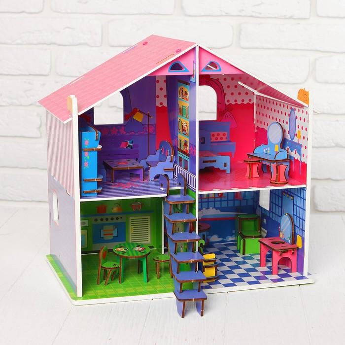 Кукольный домик, с мебелью, высота этажа — 13 см